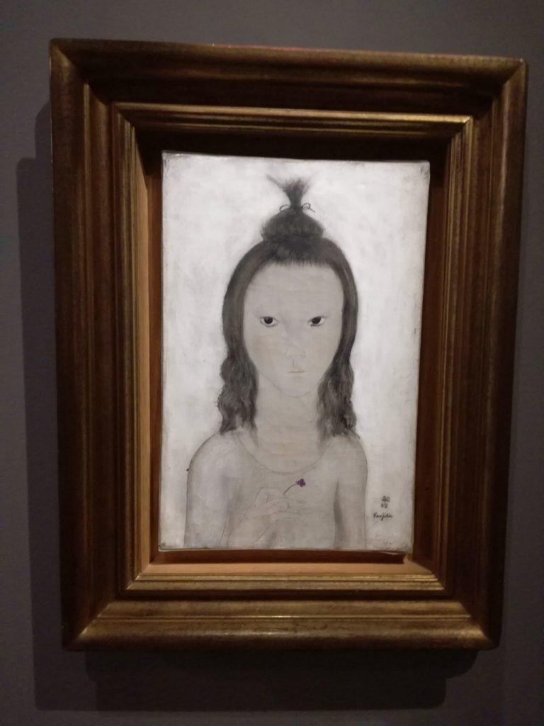 Foujita, Portrait de jeune fille à la pensée 1923